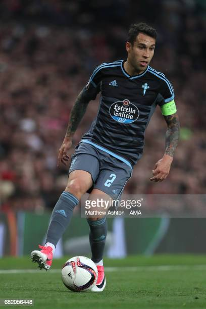 Hugo Mallo of Celta Vigo in action during the UEFA Europa League semi final second leg match between Manchester United and Celta Vigo at Old Trafford...