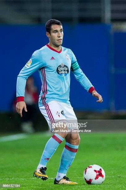 Hugo Mallo of RC Celta de Vigo controls the ball during the Copa Del Rey match between SD Eibar and RC Celta de Vigo at Estadio Municipal de Ipurua...
