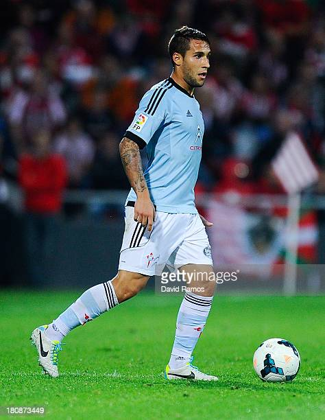 Hugo Mallo of RC Celta de Vigo runs with the ball during the La Liga match between Athletic Club and RC Celta de Vigo at San Mames Stadium on...