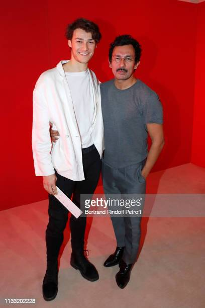 Hugo Marchand and stylist Haider Ackermann pose after the Haider Ackermann show as part of the Paris Fashion Week Womenswear Fall/Winter 2019/2020 on...