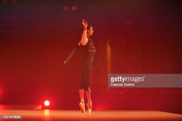 Hugo Marchand performs on the runway at the JeanPaul Gaultier 50th Birthday show at Theatre du Chatelet on January 22 2020 in Paris France