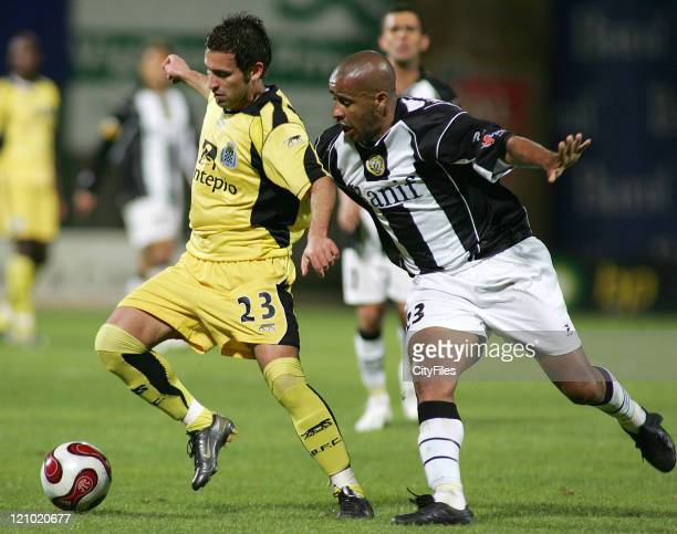 Hugo Monteiro and Chainho during the Portuguese League match between Nacional da Madeira and Boavista in Funchal Portugal on March 16 2007