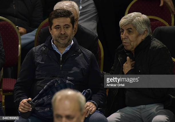 Hugo Moyano President of Independiente and Daniel Angelici gesture during a match between River Plate and Independiente as part of fifth round of...