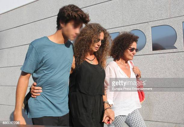 Hugo Nieto and Belinda Alonso attend the funeral chapel for former motorcycling world champion Angel Nieto at Tanatorio de Ibiza on August 4 2017 in...