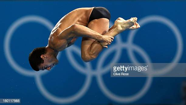 Hugo Parisi of Brazil competes in the Men's 10m Platform Diving Preliminary on Day 14 of the London 2012 Olympic Games at the Aquatics Centre on...