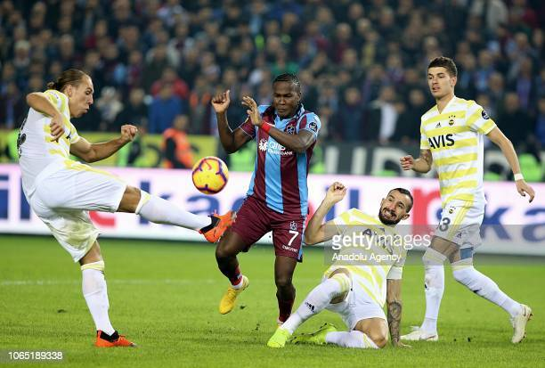 Hugo Rodallega of Trabzonspor in action against Frey Mehmet Topal and Roman Neustadter during the Turkish Super Lig soccer match between Trabzonspor...