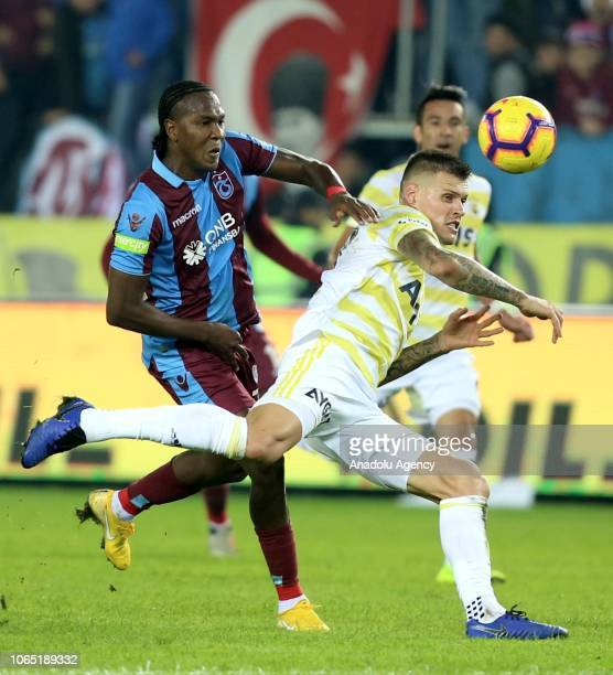 Hugo Rodallega of Trabzonspor in action during the Turkish Super Lig soccer match between Trabzonspor and Fenerbahce at Medical Park Stadium in...