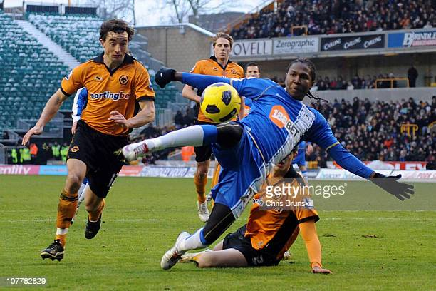 Hugo Rodallega of Wigan Athletic scores the opening goal during the Barclays Premier League match between Wolverhampton Wanderers and Wigan Athletic...