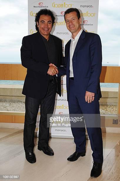 Hugo Sanchez and Carlos Dunga attend the Golden Foot Previews on October 10, 2010 in Monaco, Monaco.