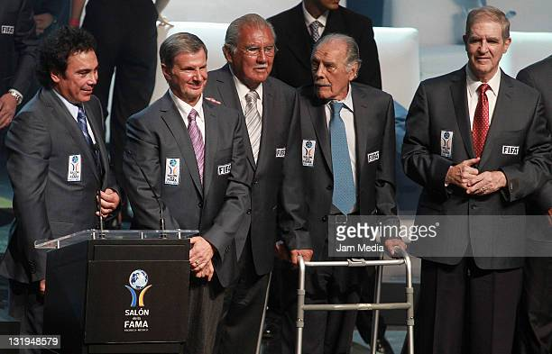 Hugo Sanchez Enrique Borja Antonio Carbajal Ignacio Trelles and Raul Cardenas during Investiture Ceremony for the 2011 Hall of Fame National and...