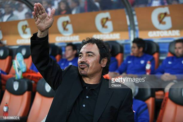 Hugo Sanchez head coach of Pachuca gestures during a match between Pachuca and Monterrey as part of the MX Cup 2012 at Hidalgo Stadium on October 20...