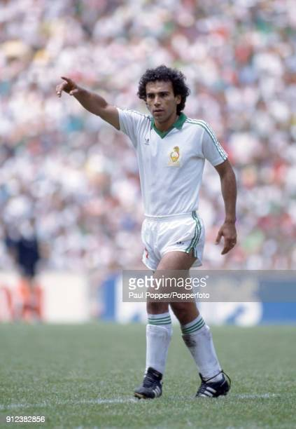 Hugo Sanchez of Mexico during the FIFA World Cup match between Mexico and Bulgaria at the Estadio Azteca in Mexico City 15th June 1986 Mexico won 20