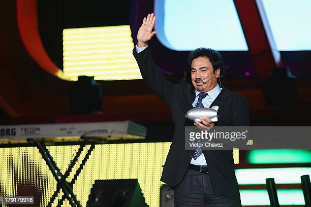 Hugo Sanchez speaks onstage during the Kids Choice Awards Mexico 2013 at Pepsi Center WTC on August 31 2013 in Mexico City Mexico