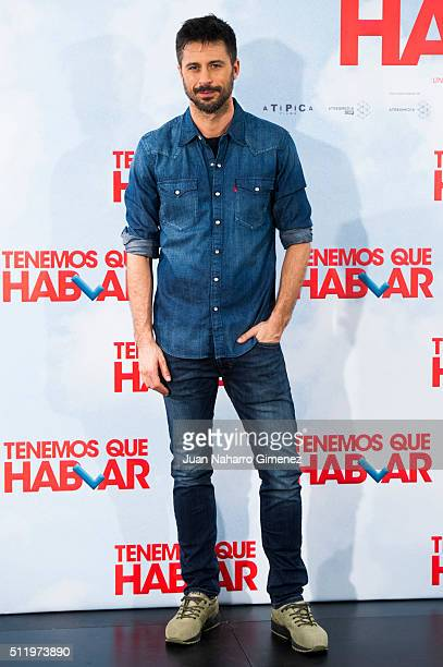 Hugo Silva attends 'Tenemos Que Hablar' photocall at Telefonica Flagship Store on February 24 2016 in Madrid Spain