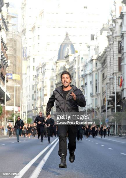 Hugo Silva is sighted on a set filming a Vodafone commercial spot in Gran Via street on September 8 2013 in Madrid Spain