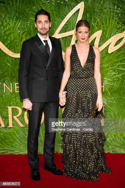 Hugo Taylor and Millie Mackintosh attend the Fashion Awards 2017 In Partnership With Swarovski at Royal Albert Hall on December 4 2017 in London...