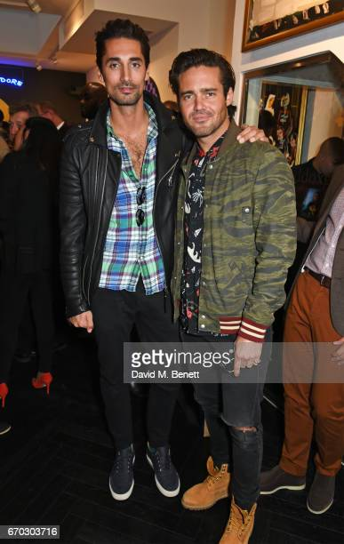 Hugo Taylor and Spencer Matthews attend a VIP private view for New York artist Bradley Theodore at Maddox Gallery on April 19 2017 in London England