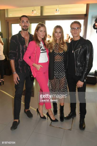 Hugo Taylor Millie Mackintosh Emma Louise Connolly and Ollie Proudlock attend the Emporio Armani You Fragrance launch at Sea Containers on July 20...