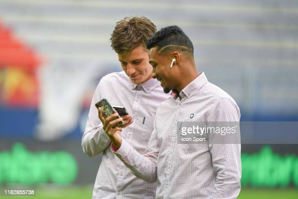 Hugo Vandermersch and Yoel Armougom of Caen before the Ligue 2 match between Caen and Chambly at Stade Michel D'Ornano on August 16, 2019 in Caen,...
