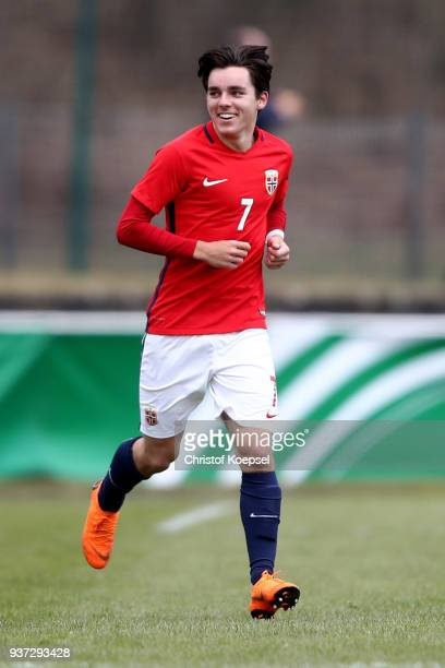Hugo Vegard Vetlesen of Norway celebrates the fourth goal during the UEFA Under19 European Championship Qualifier match between Germany and Norway at...