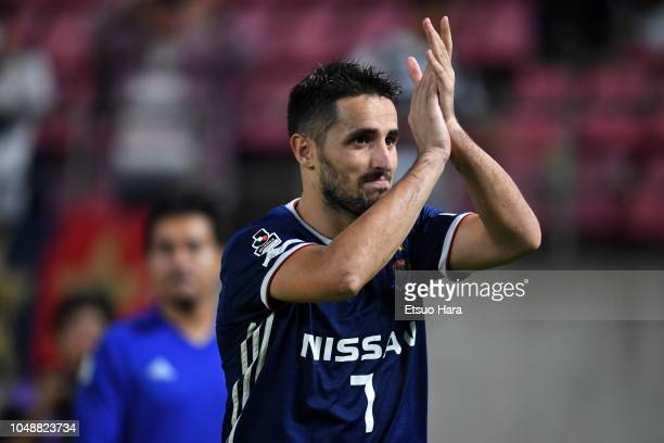 Hugo Vieira of Yokohama F.Marinos applauds fans after the J.League Levain Cup semi final first leg between Kashima Antlers and Yokohama F.Marinos at...