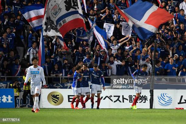 Hugo Vieira of Yokohama F.Marinos celebrates scoring his side's third goal with his team mates during the J.League J1 match between Yokohama...