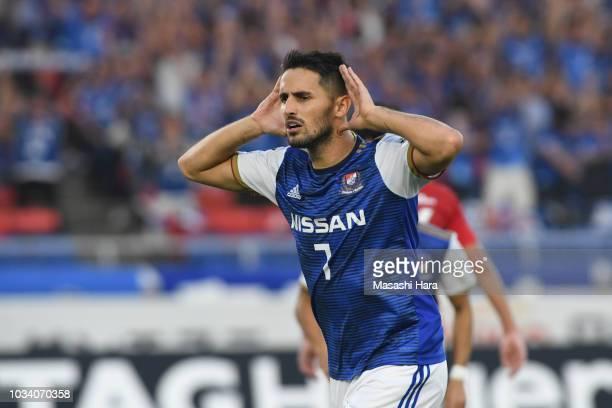 Hugo Vieira of Yokohama F.marinos celebrates the first goal during the J.League J1 match between Yokohama F.Marinos and Urawa Red Diamonds at Nissan...