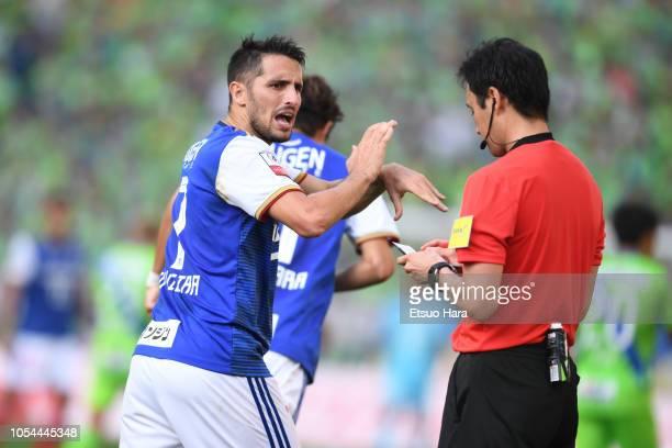 Hugo Vieira of Yokohama F.Marinos protests to referee during the J.League Levain Cup final between Shonan Bellmare and Yokohama F.Marinos at Saitama...