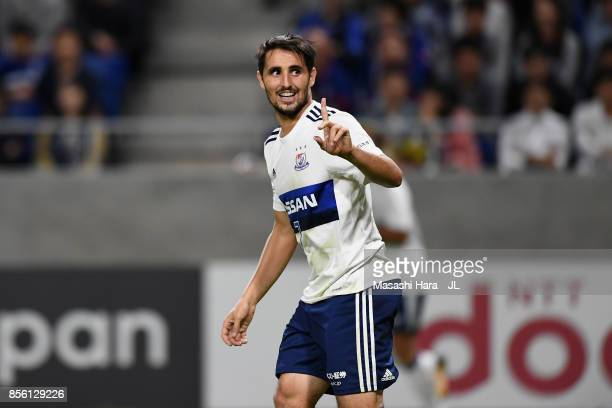 Hugo Vieira of Yokohama F.Marinos reacts during the J.League J1 match between Gamba Osaka and Yokohama F.Marinos at Suita City Football Stadium on...