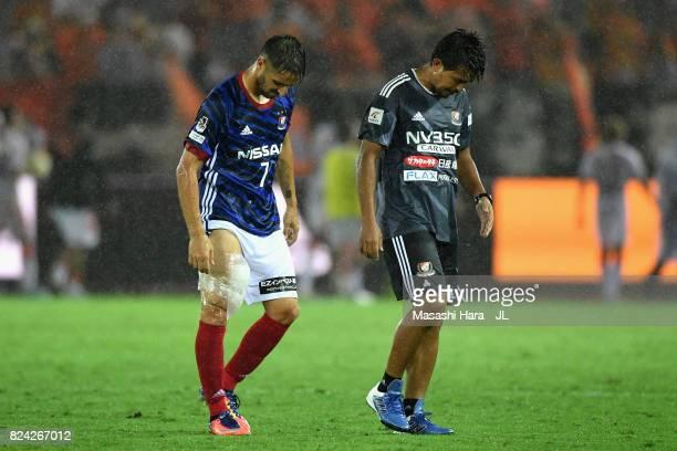 Hugo Vieira of Yokohama F.Marinos shows dejection after the 2-2 draw after the J.League J1 match between Yokohama F.Marinos and Shimizu S-Pulse at...