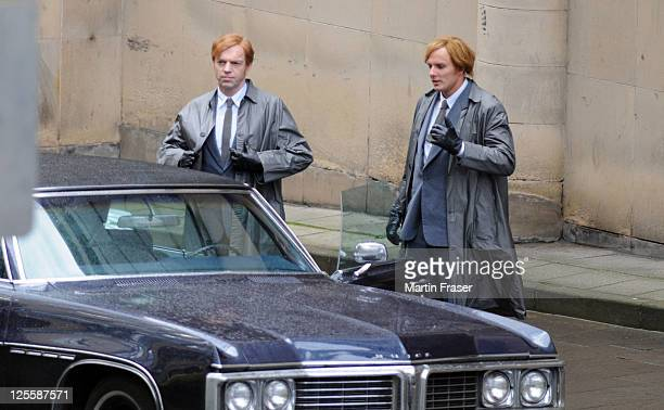 Hugo Weaving and his stunt double are pictured on the set of her new film 'Cloud Atlas' on September 18 2011 in Glasgow United Kingdom