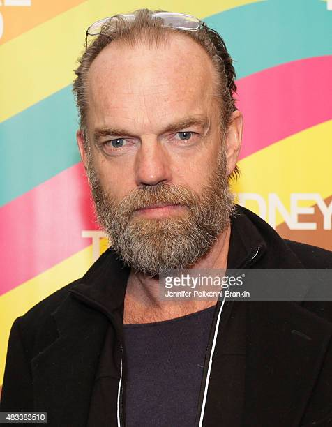 Hugo Weaving arrives at the opening night of 'The Present' at Sydney Theatre Company on August 8 2015 in Sydney Australia