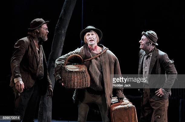 Hugo Weaving as Vladimir Luke Mullins as Lucky and Richard Roxburgh as Estragon in Sydney Theatre Company's production of Samuel Beckett's Waiting...