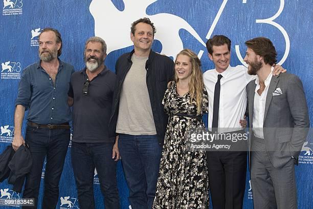 Hugo Weaving Mel GibsonVince Vaughn Teresa Palmer Andrew Garfield and Luke Bracey attend the photocall of the movie 'Hacksaw Ridge' during 73rd...