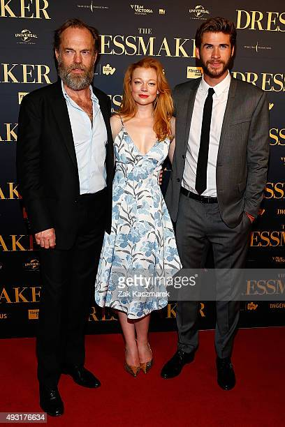 Hugo Weaving Sarah Snook and Liam Hemsworth arrive ahead of the Australian premiere of 'The Dressmaker' on October 18 2015 in Melbourne Australia