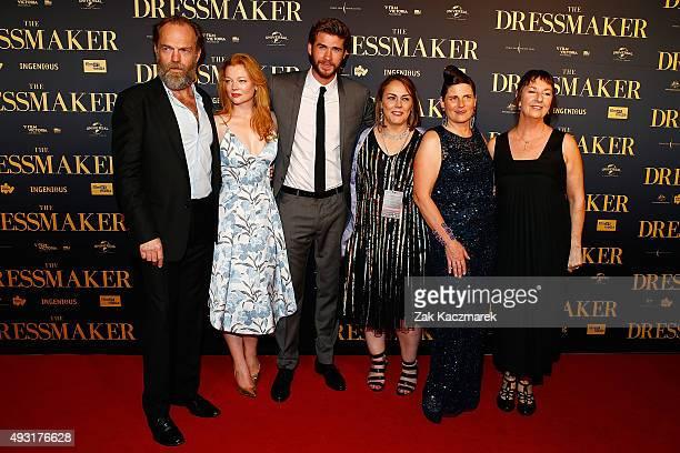 Hugo Weaving Sarah Snook Liam Hemsworth Jocelyn Moorhouse Sue maslin and Rosalie Ham arrive ahead of the Australian premiere of 'The Dressmaker' on...