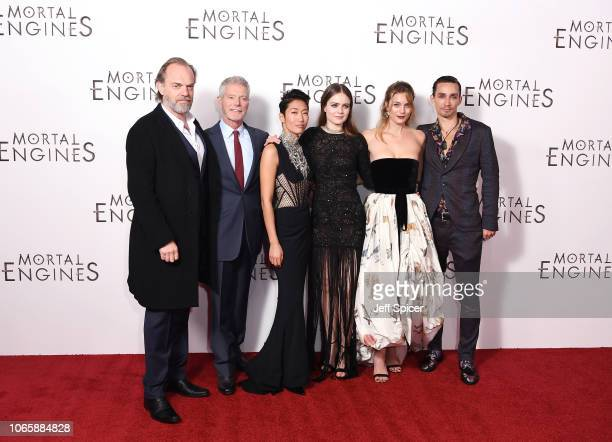 Hugo Weaving Stephen Lang Jihae Hera Hilmar Leila George and Robert Sheehan attend the World Premiere of Mortal Engines at Cineworld Leicester Square...