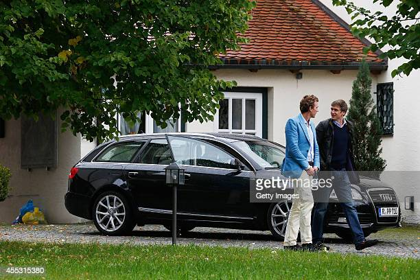 Hugo Wilson and his best man Sami Robertson leave the church after a rehearsal of his wedding with Maria Theresia Princess von Thurn und Taxis on...