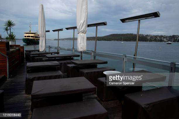 Hugo's bar and restaurant at Manly Wharf is seen currently closed to the public due to a New South Wales government public health order on March 25...
