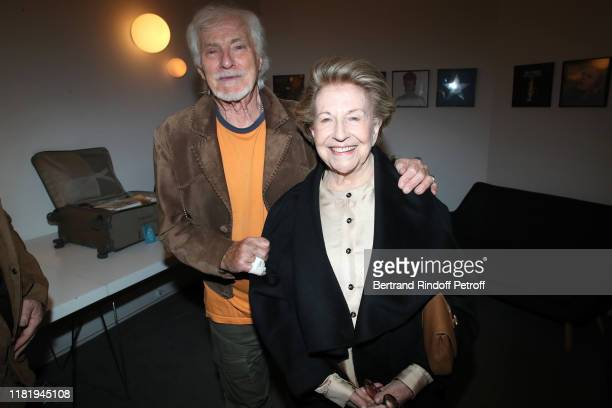 Hugues Aufray and autor of the song Celine Vline Buggy pose after Hugues Aufray performed at Salle Pleyel on October 18 2019 in Paris France