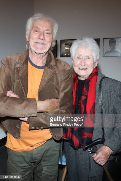 Hugues Aufray and his cousin Jacqueline pose after Hugues Aufray performed at Salle Pleyel on October 18 2019 in Paris France