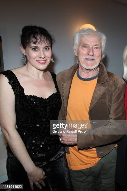 Hugues Aufray and his wife Helene Faure pose after Hugues Aufray performed at Salle Pleyel on October 18 2019 in Paris France