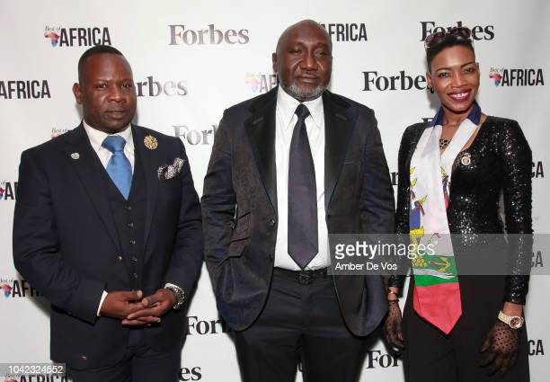 Hugues Sanon Frank Peters and Emmanuella Point du Jour attend Benedict Peters Receives Forbes Best Oil and Gas Leader of the Year Award Africa at...