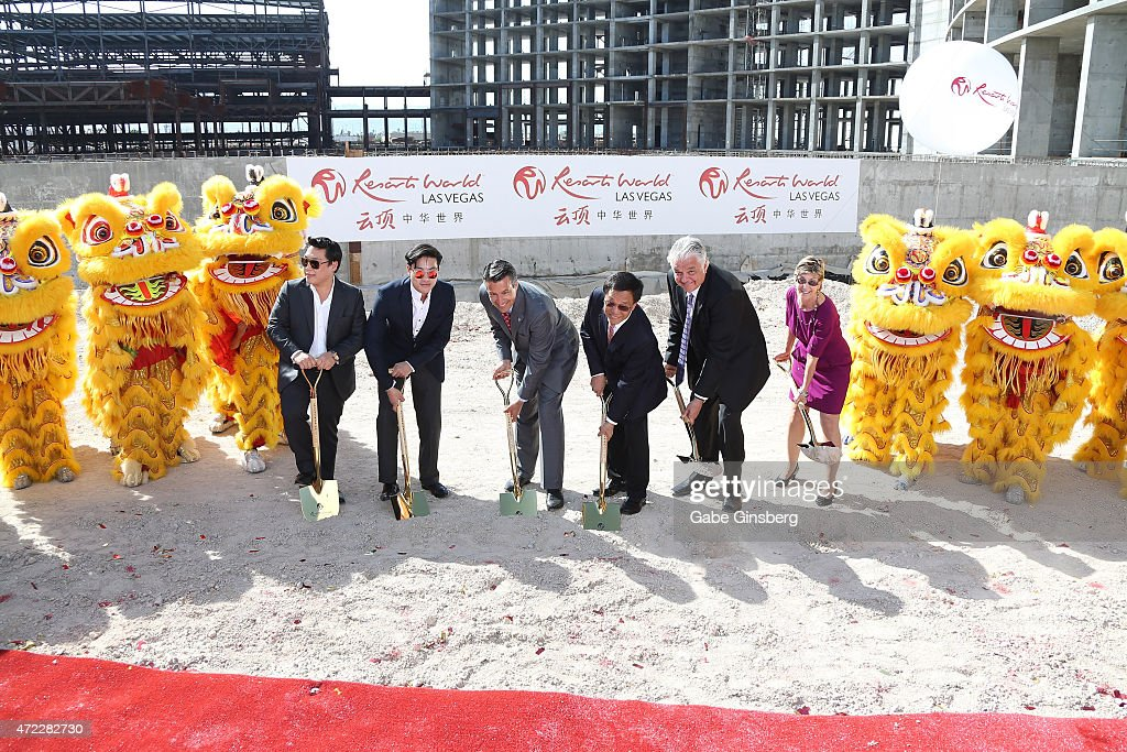 Hui Lim, Lim Keong Loui, Nevada Gov. Brian Sandoval, Chairman and CEO of the Genting Group K.T. Lim and Clark County Commissioners Steve Sisolak and Chris Giunchigliani participate during the Genting Group's ceremonial groundbreaking for Resorts World Las Vegas on May 5, 2015 in Las Vegas, Nevada. The USD 4 billion property on the Las Vegas Strip is expected to open in 2018 on the site of the former Stardust Resort & Casino.