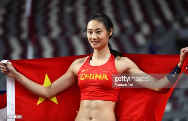 Huiqin Xu of China celebrates after winning the women's pole vault final during day three of the 23rd Asian Athletics Championships at Khalifa...