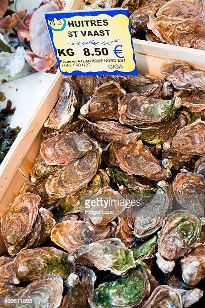 Huitres St. Vaast oysters for sale at seafood shop