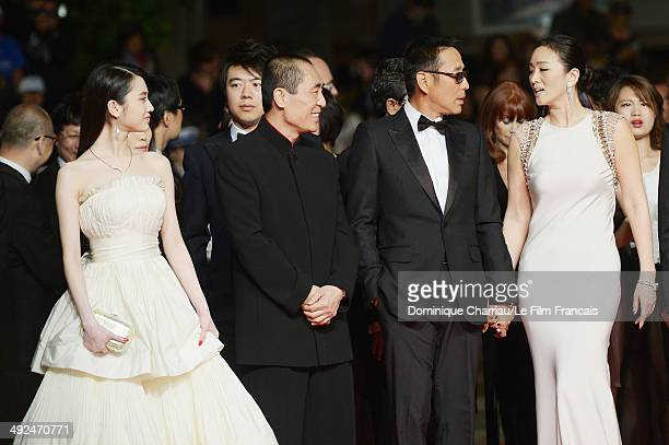 Huiwen Zhang Zhang Yimou Chen Daoming and Li Gong attend the Coming Home Premiere during the 67th Annual Cannes Film Festival on May 20 2014 in...