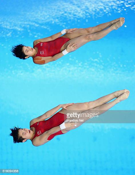 Huixia Liu and Yajie Si of China dives in the Women's 10m Synchro Platform Final during day one of the FINA/NVC Diving World Series 2016 at the...