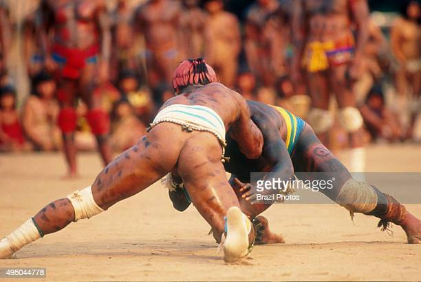 HukaHuka fight Indigenous People celebration Yamuricuma Party at Kamayura tribe a meeting of several indigenous groups from the south part of Xingu...