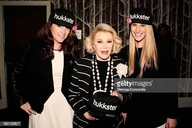 Hukkster cofounder Katie Finnegan Joan Rivers and Hukkster cofounder Erica Bell attend the Hukkstercom and Patricia Field Cut Up NYFW event at Empire...